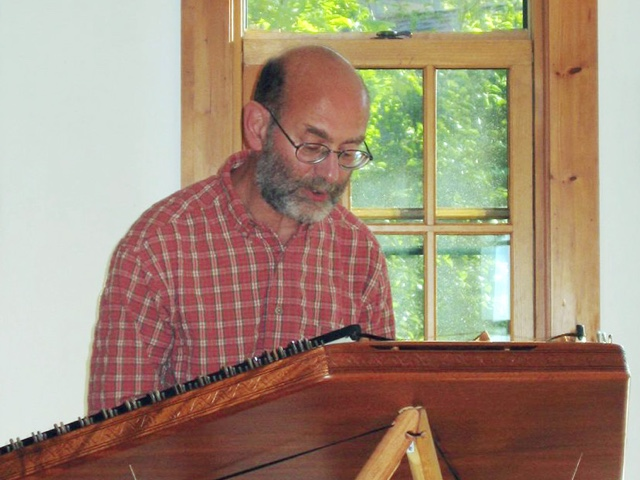 Phil Passen playing hammered dulcimer